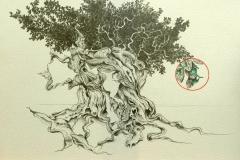 """""""Baucis et Philémon"""" Mine sur papier 25x18 cm"""