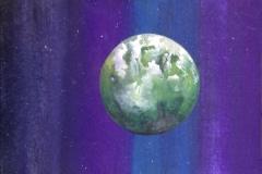"""""""Planète 3"""" Techniques mixtes sur papier 25x17,5 cm"""