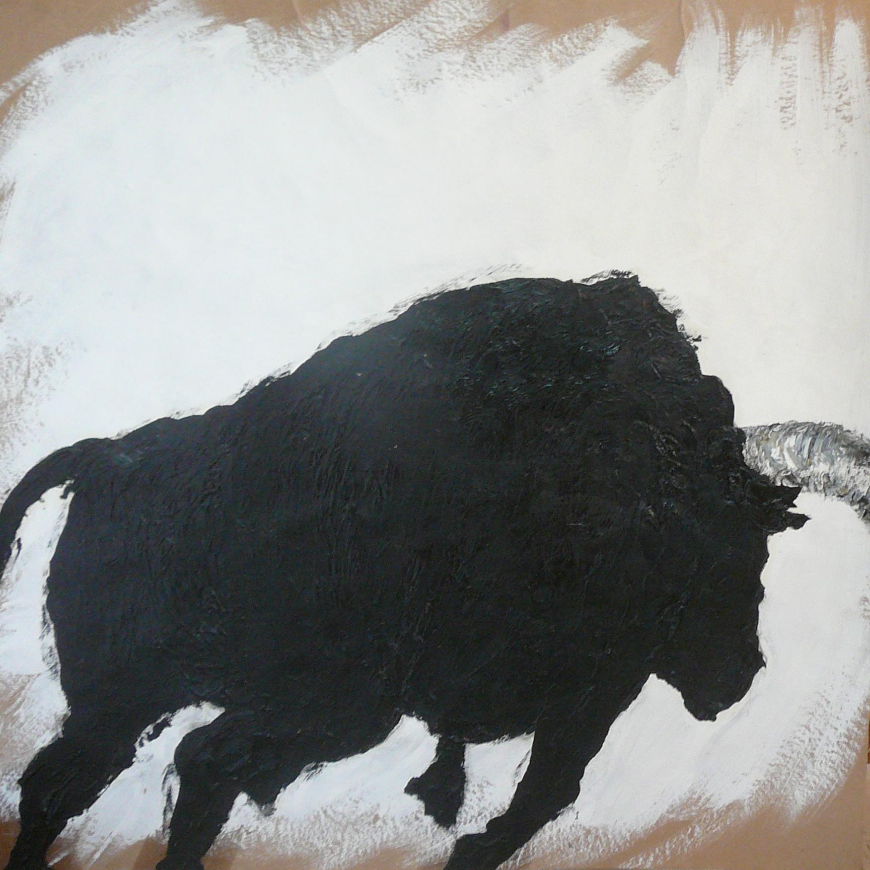 """""""Musica"""" Huile sur papier (encadré bois lazuré blanc) 70x70 cm"""